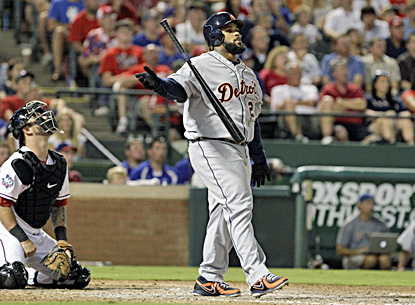 Detroit's Prince Fielder watches as his home run sails over the wall during the sixth inning. (AP)