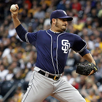 The Padres' Jason Marquis no-hits the Pirates through six innings and allows just two hits overall to earn the shutout. (Getty Images)