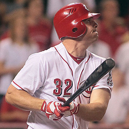 Jay Bruce hits one of the Reds' three home runs in their win over the Mets, a three-run shot in the ninth inning.  (AP)