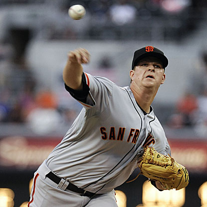 Matt Cain allows one run on four hits in eight innings to defeat the Padres and improve to 6-0 following a Giants' loss. (Getty Images)