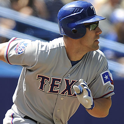 David Murphy homers and doubles twice in the Rangers' rout of the Blue Jays. (AP)