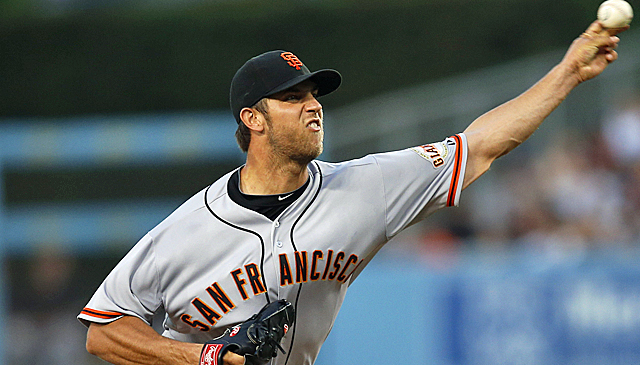 Madison Bumgarner and the S.F. starting rotation rank fourth in the NL with a 3.66 ERA. The Dodgers are second. (AP)