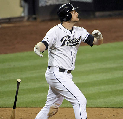 Chase Headley provides an exciting conclusion to the Padres' game with a walk-off home run in the 10th. (Getty Images)