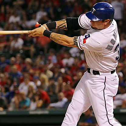 Josh Hamilton goes 2 for 5 with a double and five RBI in the Rangers' victory over the Twins.  (US Presswire)