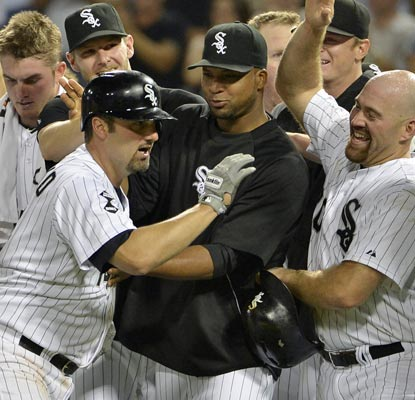 Paul Konerko does his part to save the White Sox from a deflating loss with his game-winning hit in the ninth.  (Getty Images)