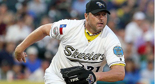Rogers Clemens throws 3 1/3 scoreless innings for the Sugar Land Skeeters on Saturday night. (Getty Images)