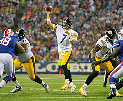 Ben Roethlisberger completes 17 of 24 for 169 yards and a touchdown against the Bills. (Getty Images)