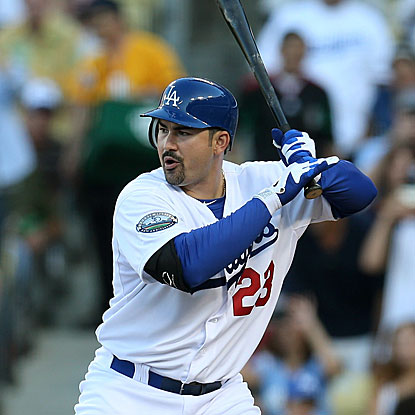The Dodgers' Adrian Gonzalez goes 1 for 5 with a three-run homer in his first game since being traded by the Red Sox. (Getty Images)