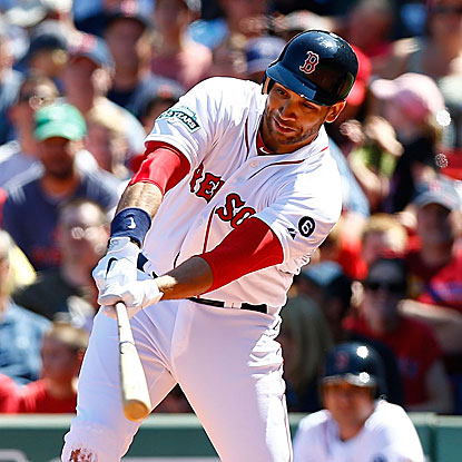 James Loney collects an RBI single in his first game as a member of the Boston Red Sox. (Getty Images)