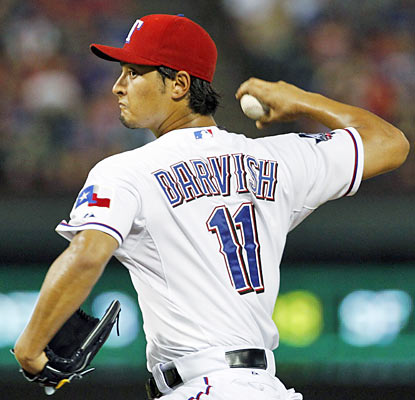 Yu Darvish shows his nasty side as he whiffs 10 batters through seven shutout innings against the Rays. (AP)
