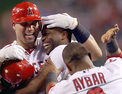 Torii Hunter is all smiles as he sends the Angels to a much-needed come-from-behind win over the Red Sox.  (Getty Images)
