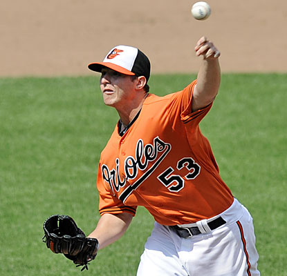 Zach Britton racks up a career-high 10 strikeouts in the win before getting optioned to the minors. (AP)