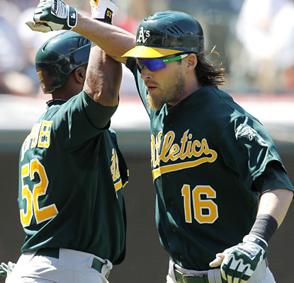 Yoenis Cespedes collects two hits and helps Josh Reddick celebrate his 27th home run of the season. (AP)
