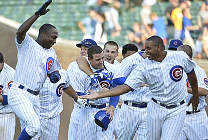 Alfonso Soriano's RBI single caps a three-run comeback for the Cubs and allows Jonathan Lucroy's 7 RBI to go for naught. (Getty Images)