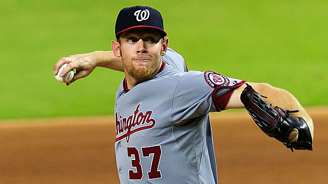 Stephen Strasburg has thrown 150 1/3 innings to this point, and leads the NL with 186 strikeouts. (US Presswire)