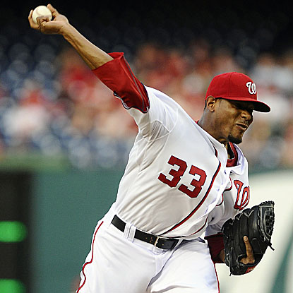 The Nationals' Edwin Jackson strikes out 10 in eight strong innings of work to defeat the Cardinals. (US Presswire)