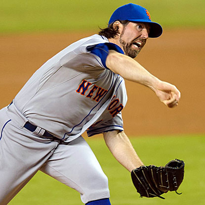 The Mets' R.A. Dickey throws his NL-leading fifth complete game to earn his 17th win, tying him for the MLB lead. (US Presswire)