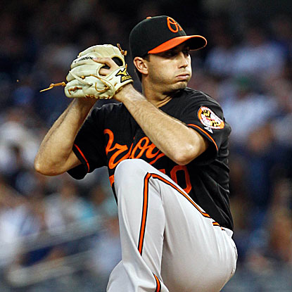 Orioles rookie Miguel Gonzalez fans a career-high nine batters in seven shutout innings to defeat the Yankees.  (US Presswire)
