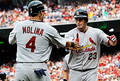 David Freese drives in three runs, including the game winner as the Cards win a seesaw battle vs. the NL East-leading Nats. (Getty Images)