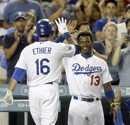 The Dodgers get all of their offense from Andre Ethier and Hanley Ramirez, who each provide solo shots. (AP)