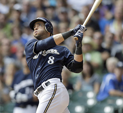 The Brewers' Ryan Braun hits his MLB-leading 37th home run of the season during the first inning. (AP)