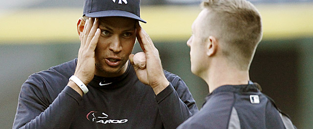 Rodriguez rejoins the Yankees for the first time since breaking his hand July 24. (AP)