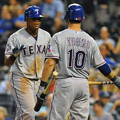 Adrian Beltre goes 3 for 4 with a triple and a three-run homer and Michael Young delivers a solo shot in the Rangers' win. (US Presswire)