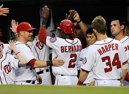 Celebrations like these have been commonplace in the Nationals dugout the past couple of days.  (Getty Images)