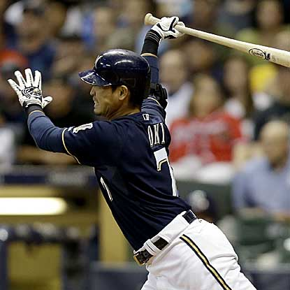 Norichika Aoki's two-run double in the seventh inning keys a four-run frame, helping the Brewers get past the Braves. (Getty Images)