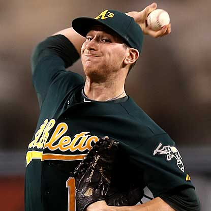 The A's Jarrod Parker throws seven innings of three-hit ball to defeat the Angels and snap their six-game winning streak. (Getty Images)