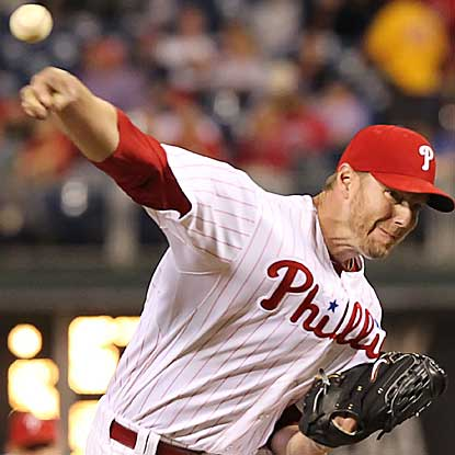 Roy Halladay is touched for five runs in 6 1/3 innings but earns the victory to extend the Phillies' win streak to six games. (Getty Images)