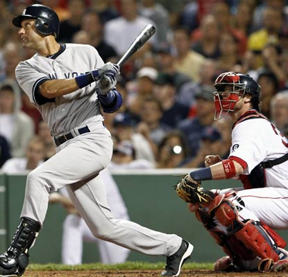 Derek Jeter collects hit No. 3,283 to match Willie Mays for 10th on the all-time list.  (US Presswire)
