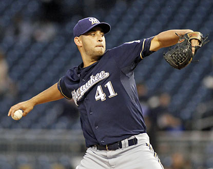 The Brewers' Marco Estrada gives up three hits and zero runs in seven dominant innings. (Getty Images)