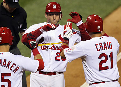 David Freese puts the Cardinals ahead for good with a two-run home run in the second inning. (AP)