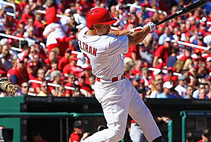 Carlos Beltran's pinch-hit double helps the Cards finish 6-0 at home in 2012 vs. the Astros, and pad their wild-card lead. (Getty Images)