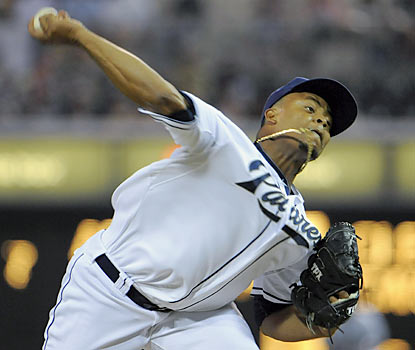 Edinson Volquez shuts out the Dodgers through seven innings en route to his 11th win of the season. (Getty Images)