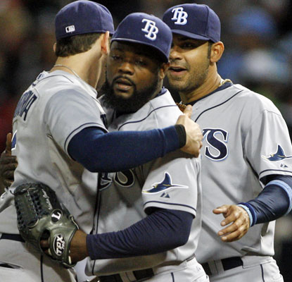 Fernando Rodney closes out the win for the Rays, his club-record 46th save in 48 opportunities.  (US Presswire)