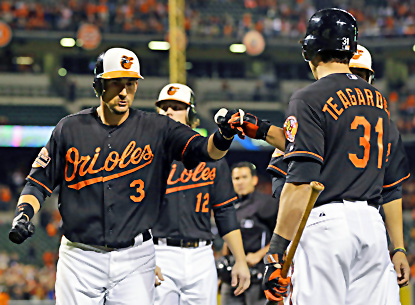 Baltimore's Ryan Flaherty (left) fist-bumps teammate Taylor Teagarden after hitting a grand slam in the first inning. (AP)