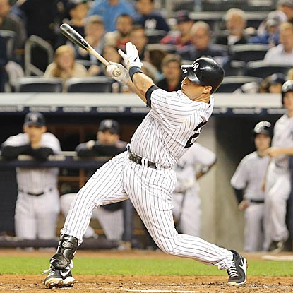 In his return from injury, Mark Teixeira belts a home run during New York's nine-run second inning. (US Presswire)