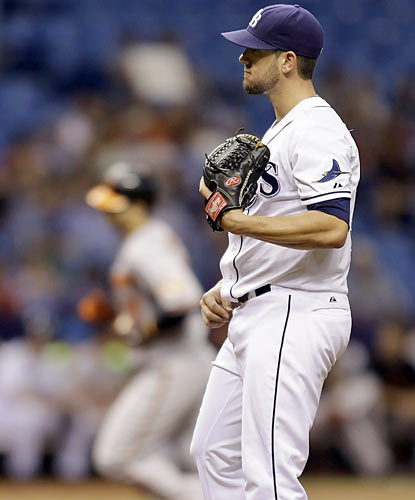 James Shields strikes out a club-best 15 batters, but suffers the loss after serving up a solo shot to Chris Davis. (AP)