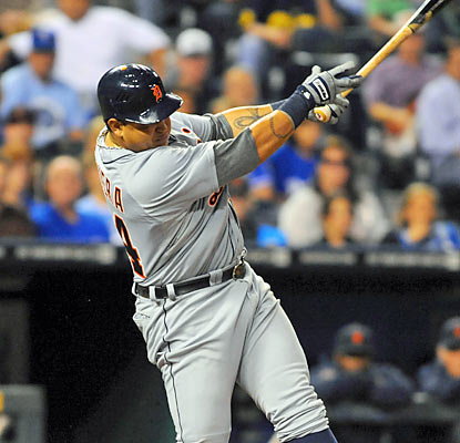 Miguel Cabrera increases his lead in batting average (.331) and RBI (139) after a productive effort at the plate. (US Presswire)