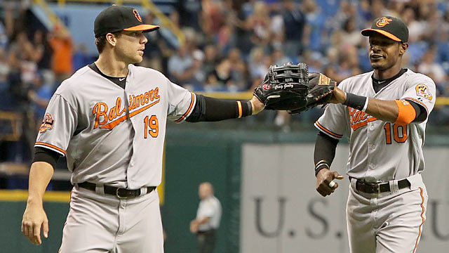 Adam Jones (right): 'We're fortunate to be moving on. We're happy to be in this situation.' (US Presswire)
