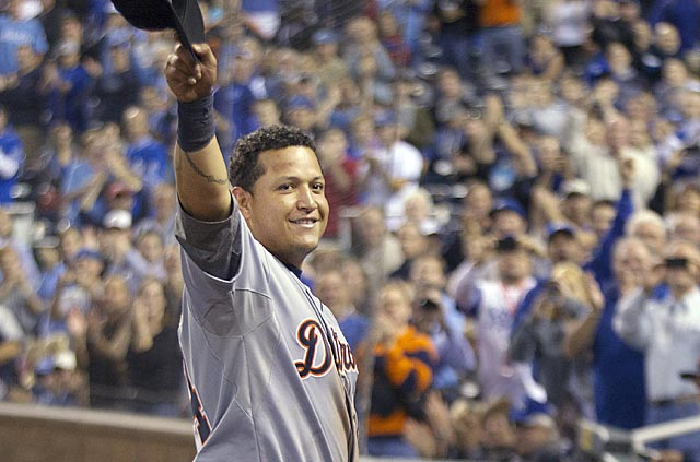 Miguel Cabrera goes 0 for 2 and leaves early, but still earns an ovation from Royals fans. (AP)