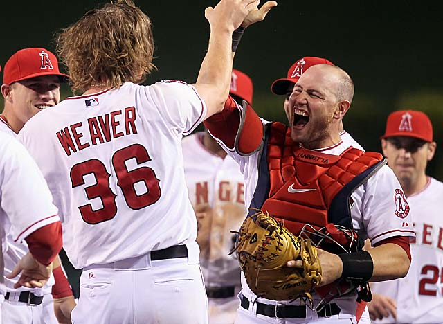 Iannetta, who caught Jered Weaver's no-hitter in May, re-signs with L.A. for three more years. (Getty Images)