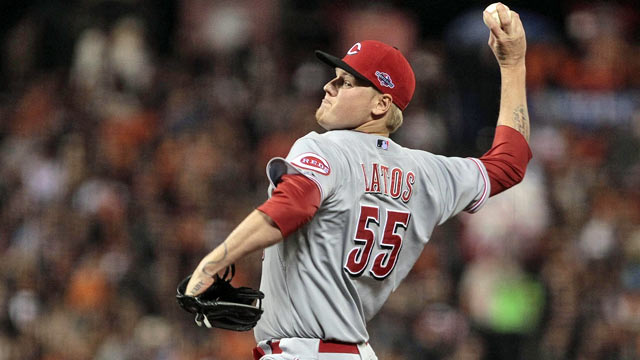 Think Mat Latos minded pitching on such short notice? 'I'd pitch in no socks if I had to.' (US Presswire)