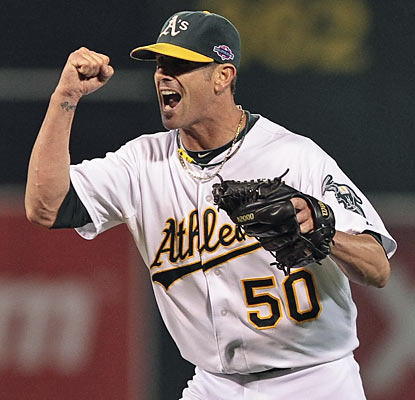 Grant Balfour closes the door on the Tigers as the A's force a Game 4 in dominant fashion. (US Presswire)