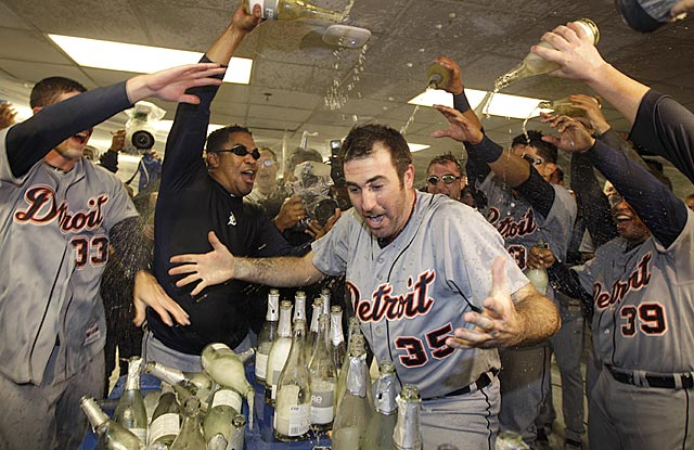 After a vintage performance, Justin Verlander gets showered with praise -- and bubbly. (Getty Images)