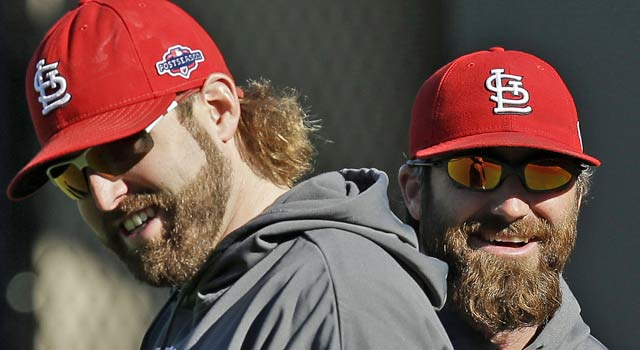 Mitchell Boggs (left) and Jason Motte will face the Giants in a matchup of the past two champions. (AP)