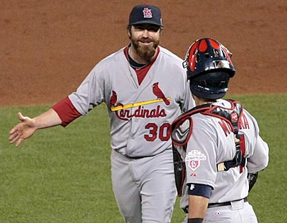 Jason Motte finishes off a stellar outing by the Cardinals bullpen and earns another postseason save.  (US Presswire)