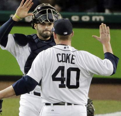 In relief of Justin Verlander, Phil Coke escapes a jam in the ninth inning by striking out Raul Ibanez to end Game 3.  (AP)